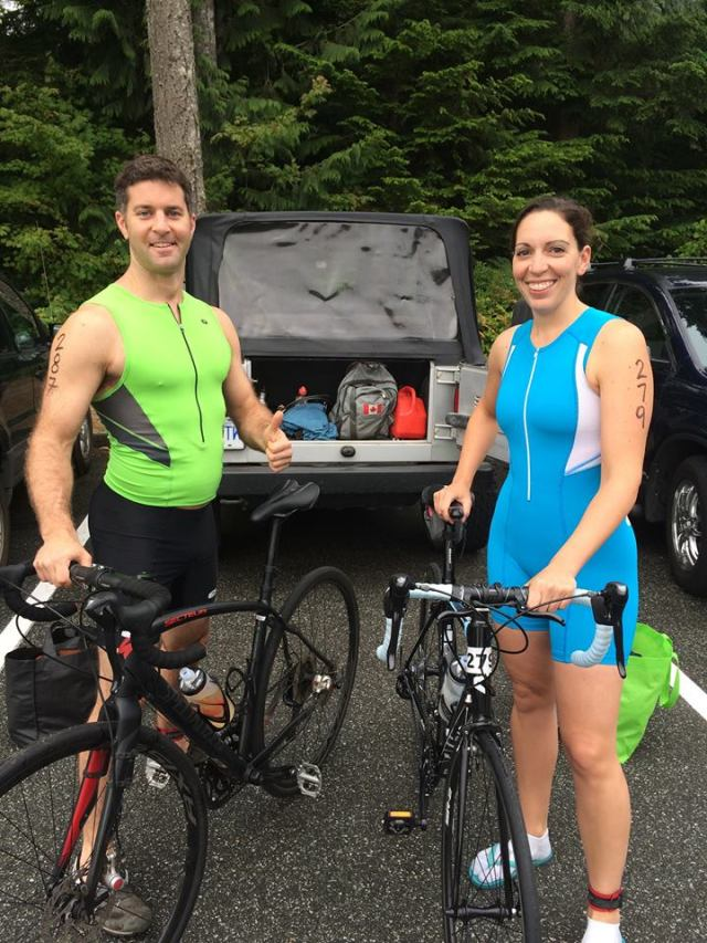 Pete and I all ready for the Squamish Tri